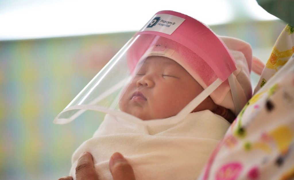 Hospital in Thailand are neonatal little face shield to protect against Crown