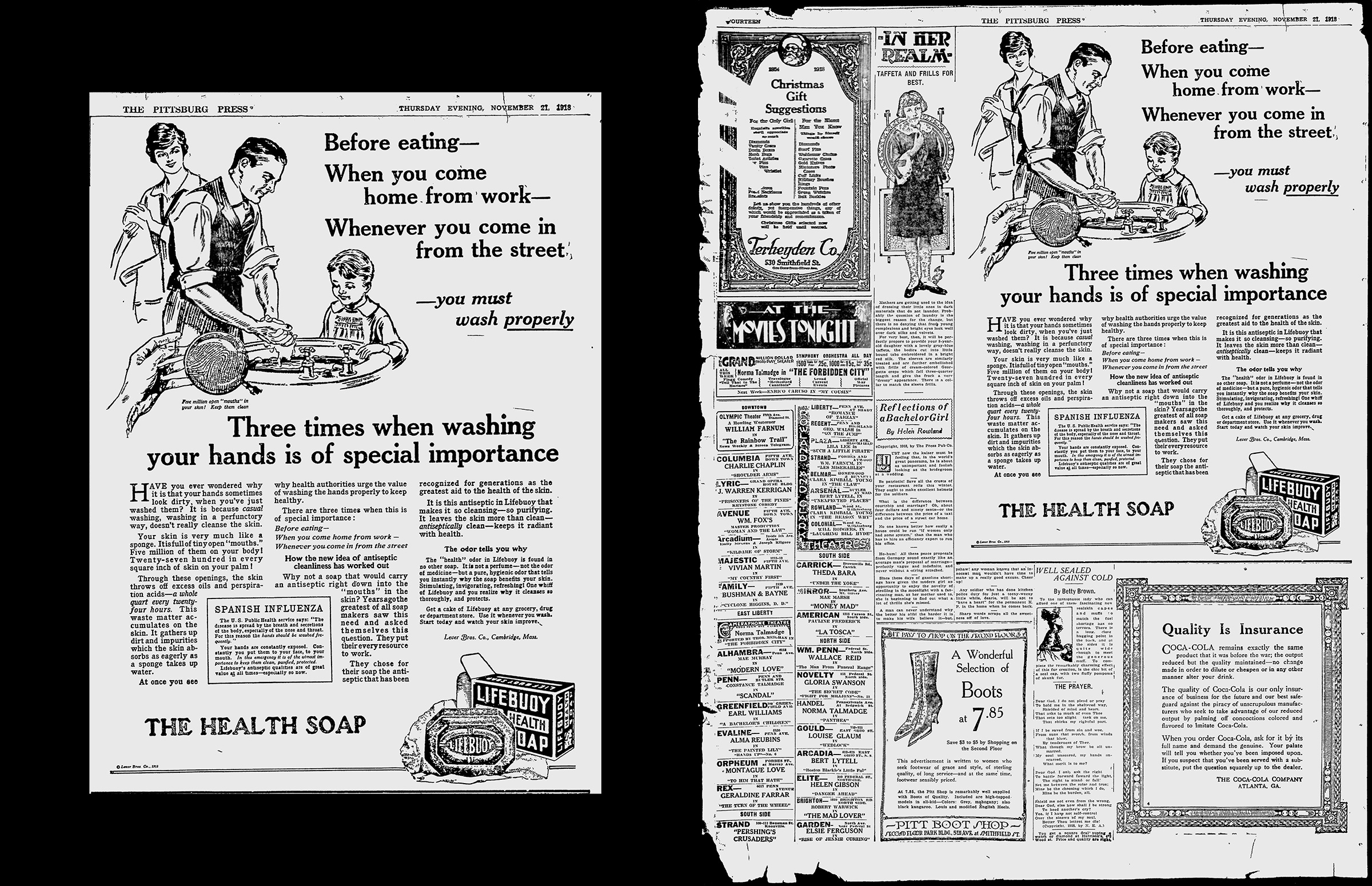 You need to wash properly. 'Newspaper ads 1918 flu pandemic Show Some things never change